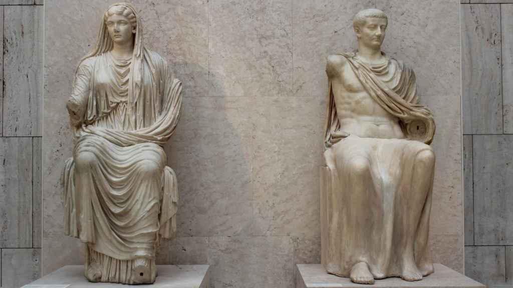 Livia y su hijo Tiberio.
