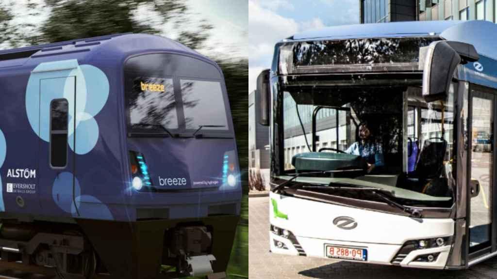 El tren de Alstom y el autobús de Solaris (CAF) de hidrógeno.