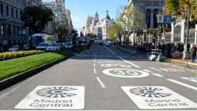 Zona restringida al tráfico en el centro de Madrid.