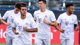 Thiago y Lewandowski con el Bayern Múnich