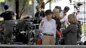 El director neoyorquino Woody Allen durante el rodaje de su película en San Sebastián.
