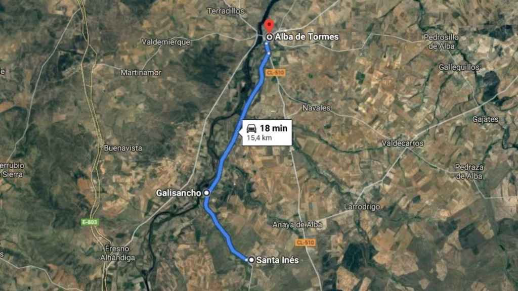 Trayecto que realizaban los jóvenes, partiendo de Santa Inés, y el punto del accidente, en Galisancho.