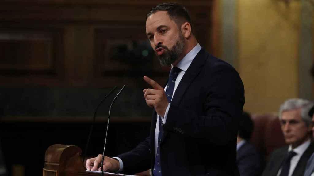 El líder de VOX, Santiago Abascal, en una intervención en el Congreso