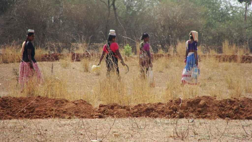Mujeres indias transportando agua.