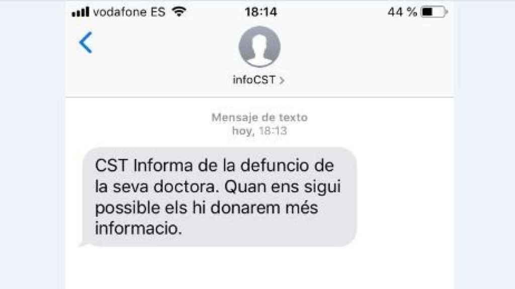 El Consorci Sanitari me informa por sms de la muerte de mi doctora