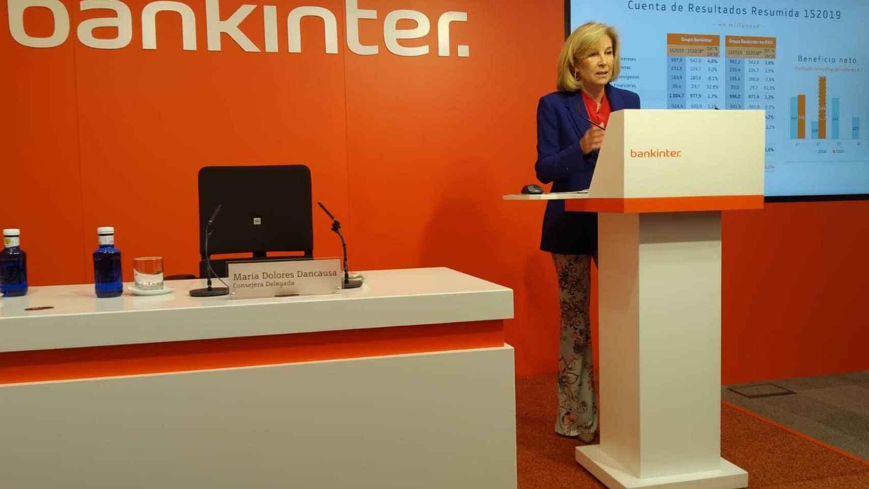 La consejera delegada de Bankinter, María Dolores Dancausa, en la rueda de prensa de los resultados.