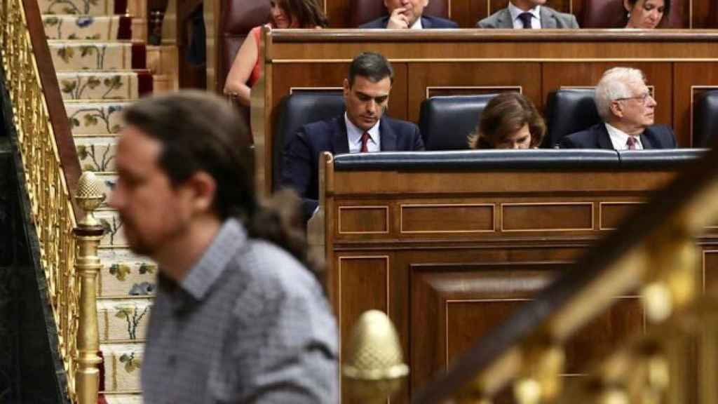 Pablo Iglesias en la sesión de investidura de Pedro Sánchez.