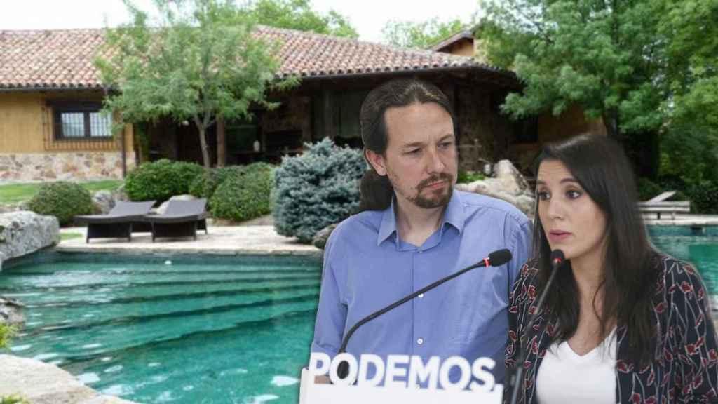 Pablo Iglesias e Irene Montero y, en el fondo, su chalé en Galapagar.