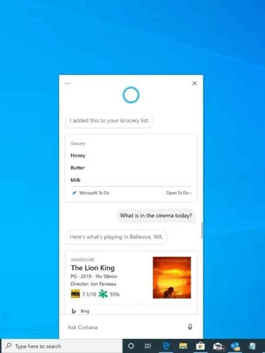 Cortana con su nueva interfaz.