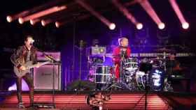 El grupo británico Muse durante el concierto que ha ofrecido en el estadio Metropolitano (Madrid)