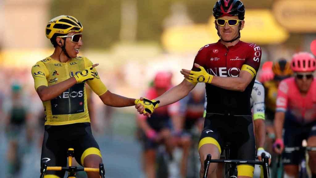 Bernal con Thomas en París (Tour de Francia).