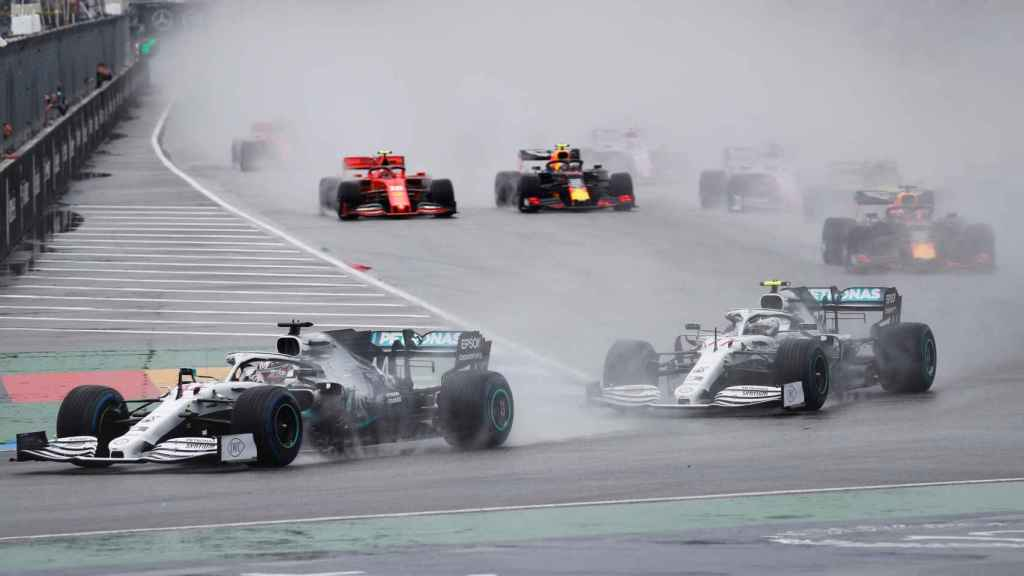 Bottas y Hamilton en el Gran Premio de Alemania de Fórmula 1.