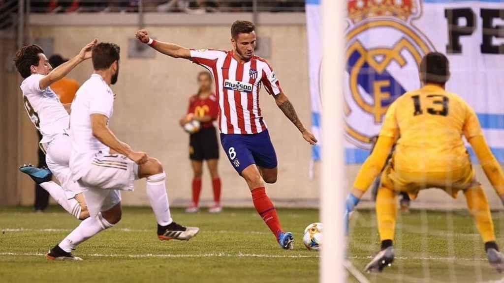 Saúl Ñíguez, en un partido del Atlético de Madrid ante el Real Madrid. Foto: Instagram (@saulniguez)