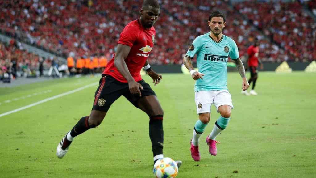 Paul Pogba disputando un amistoso de pretemporada con el Manchester United.
