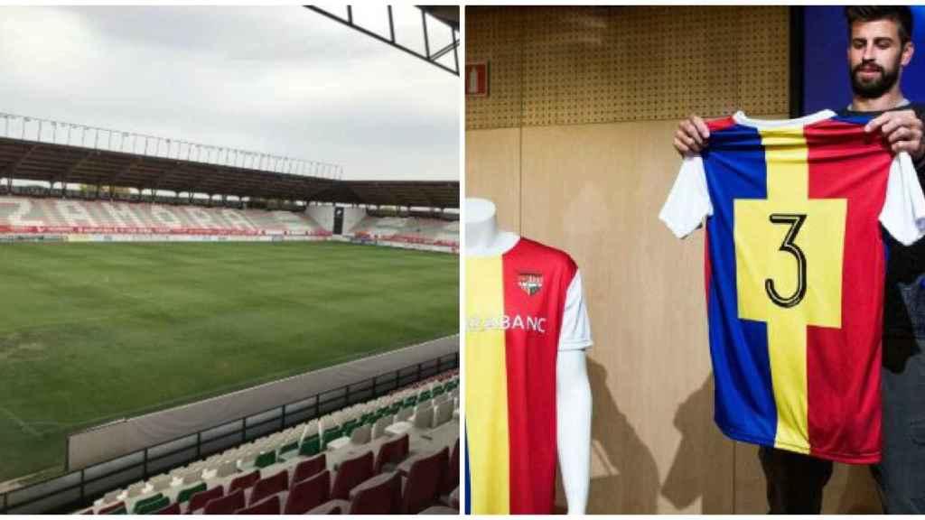 El campo del Zamora y Gerard Piqué con la camiseta del Andorra