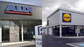 Fotos de archivo de dos supermercados Aldi y Lidl.
