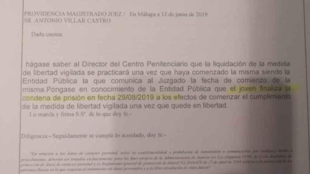 Auto libertad por cumplimiento de condena de Rubén Vega Ramírez.