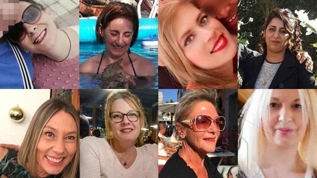 Rostros de 8 de las 12 víctimas de violencia de género de julio
