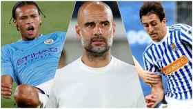 Sané, Guardiola y Oyarzábal.