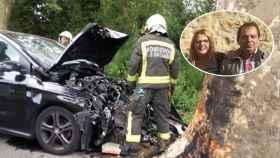 Maruchi, su marido Juan y el coche siniestrado.