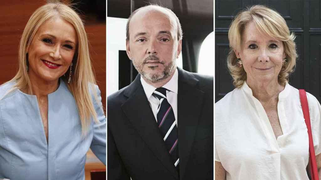 La expresidenta de la Comunidad de Madrid, Cristina Cifuentes, el presidente de Prisa, Javier Monzón, y la exdirigente del PP Esperanza Aguirre.