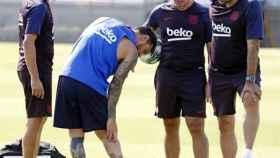 Messi se lesiona en el entrenamiento del Barcelona. Foto: fcbarcelona.es