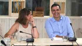 Pedro Sánchez junto a la ministra de Transición Ecológica, Teresa Ribera, en su encuentro con ecologistas.