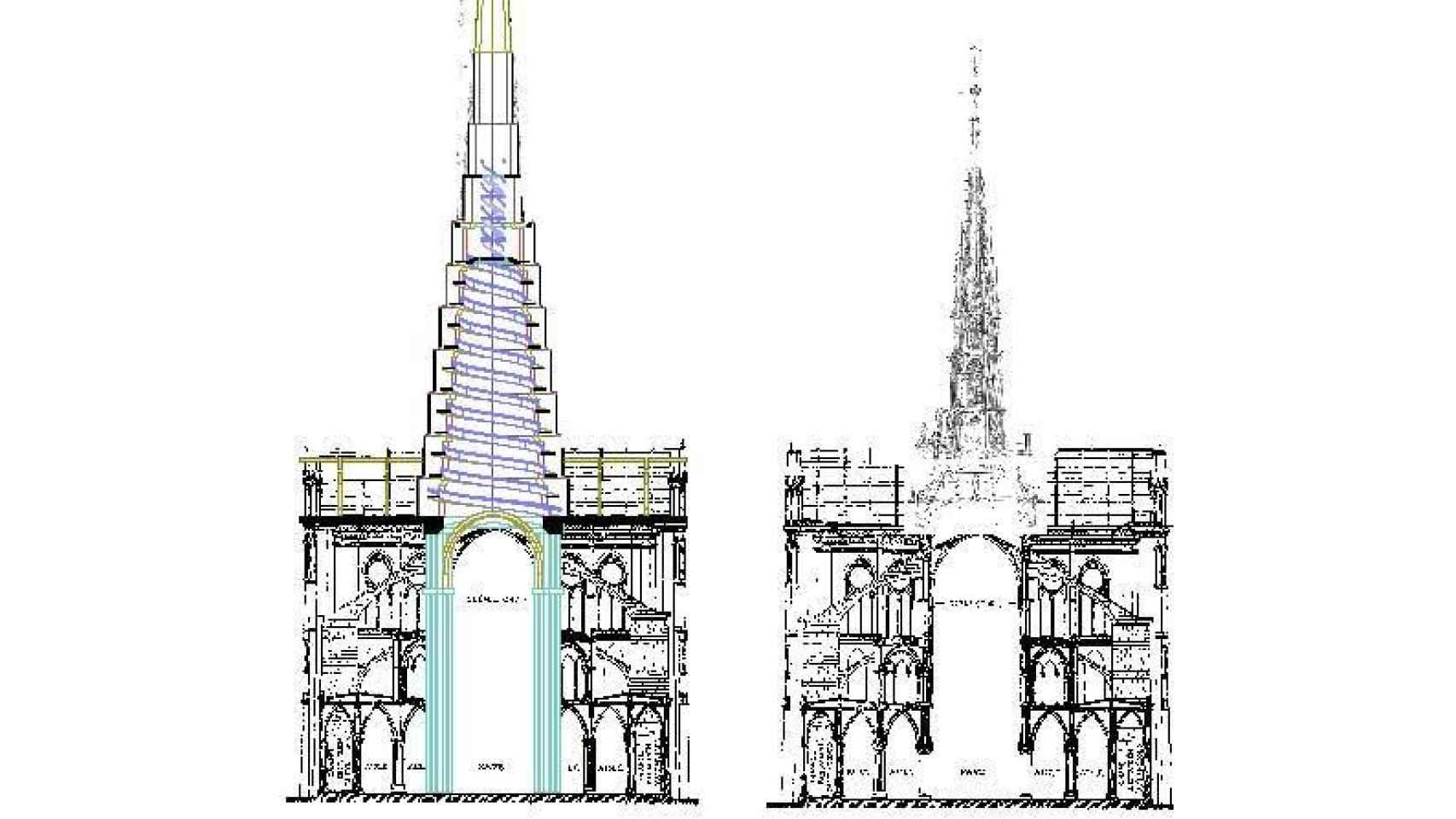 Sección vertical del templo por la nave del crucero con la aguja sobreelevada siguiendo su propio ángulo natural hasta llegar a apoyar en los 4 pilares del crucero
