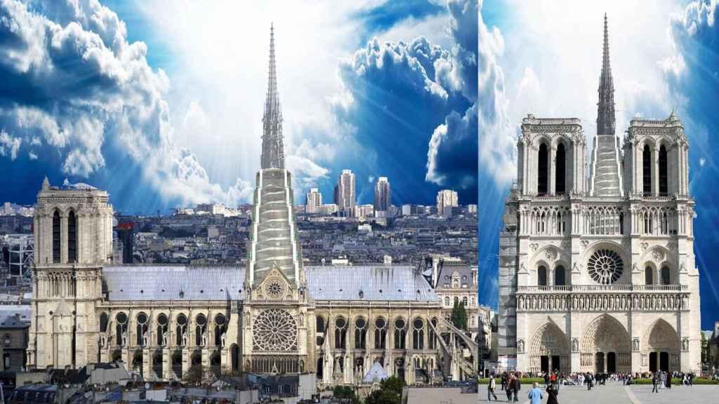 Aspecto de la catedral de Notre Dame reconstruida según el plan del catedrático de Arquitectura español..