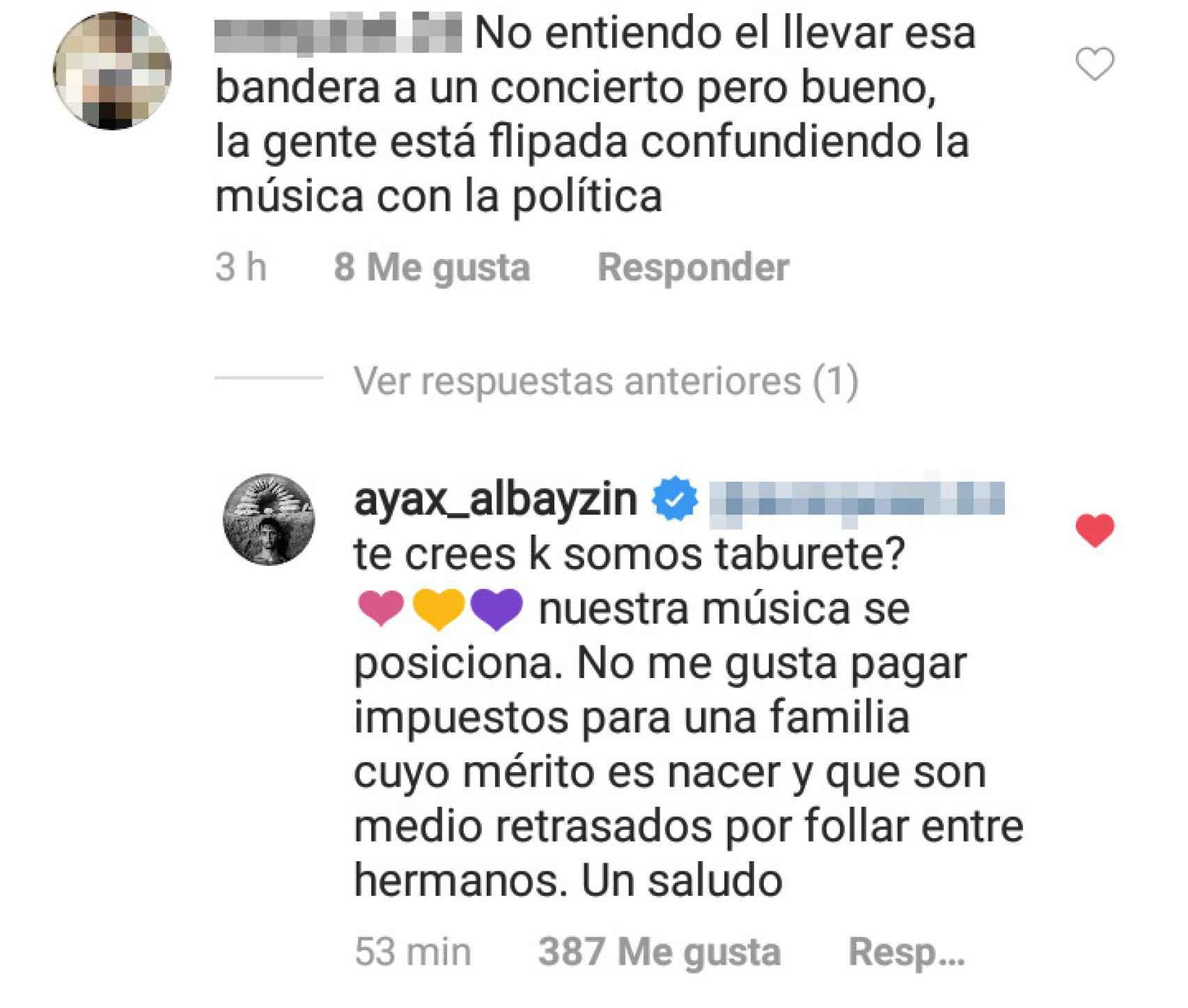 Respuesta de Ayax en su cuenta de Instagram.