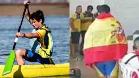 Imagen del joven con la bandera de España subiendo a recoger la medalla