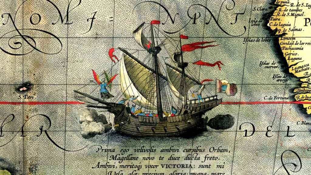 Detalle de un mapa de Abraham Ortelius que muestra la nave Victoria (1590).
