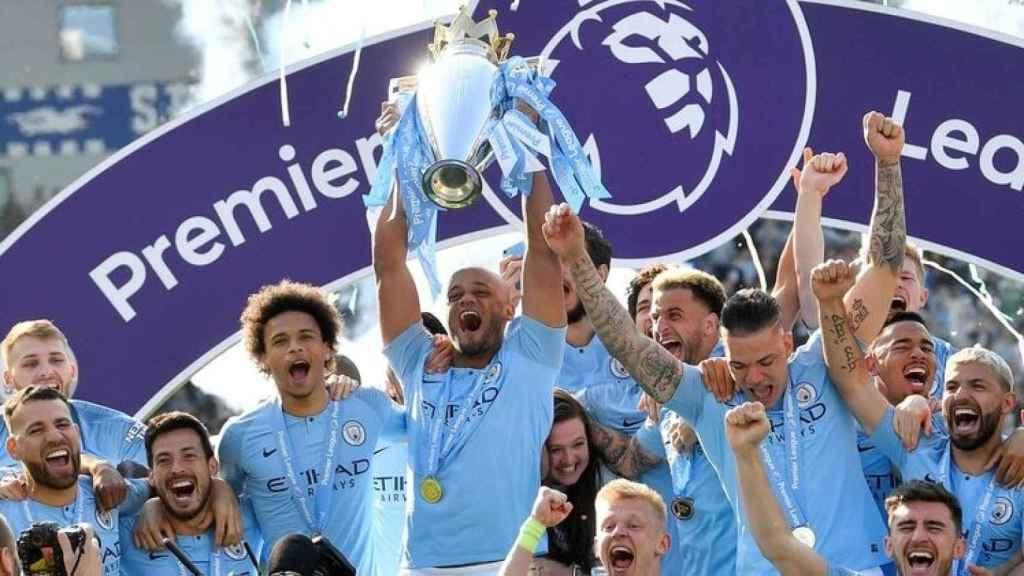El Manchester City, celebrando el título de la Premier League 2018/2019