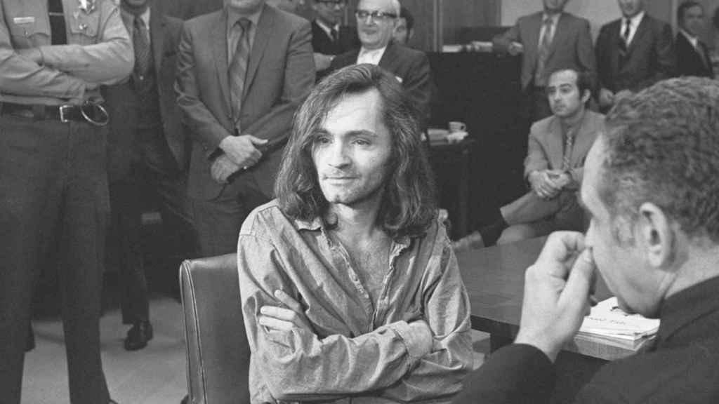 Charles Manson en el tribunal.