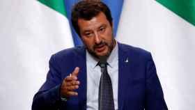 Matteo Salvini durante una conferencia en Budapest.