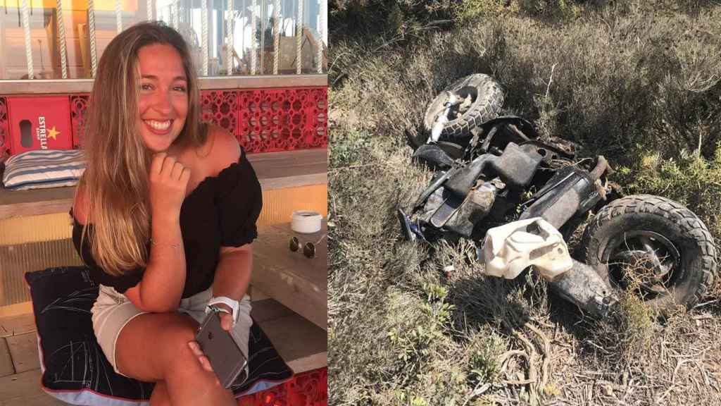 Sofía G., a la izquierda, junto a su moto después de sufrir el accidente mortal.