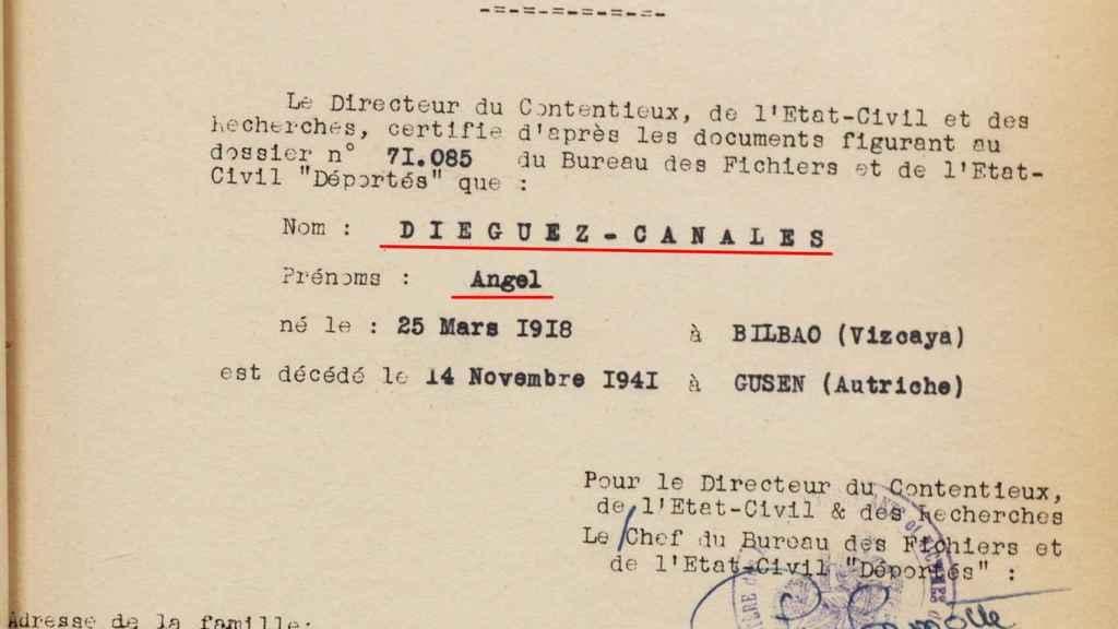 Parte de defunción de Ánguel Dieguez, tío de la ministra Isabel Celaá