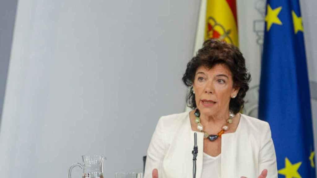 La ministra portavoz, Isabel Celaa, este viernes tras el Consejo de Ministros.