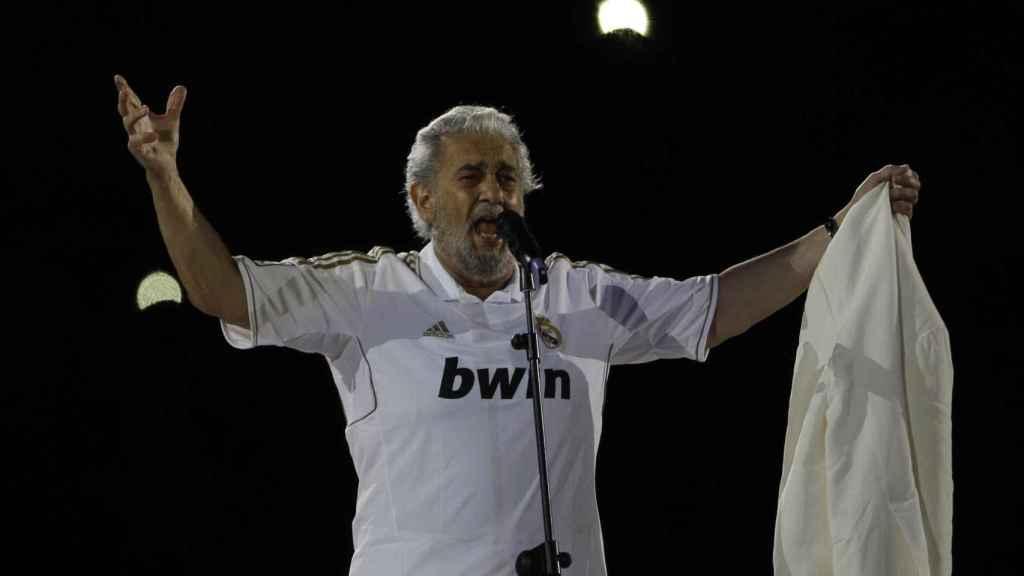Plácido Domingo en 2012 en la celebración del título liguero del Real Madrid.