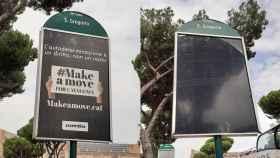Antes y después de los carteles con propaganda independentista catalana en Italia.