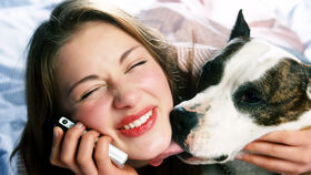 Una mujer recibe un cariñoso lametazo de su perro.