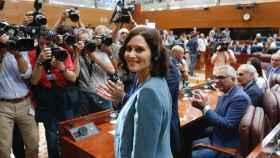 Isabel Díaz Ayuso momentos antes de pronunciar su discurso de investidura.