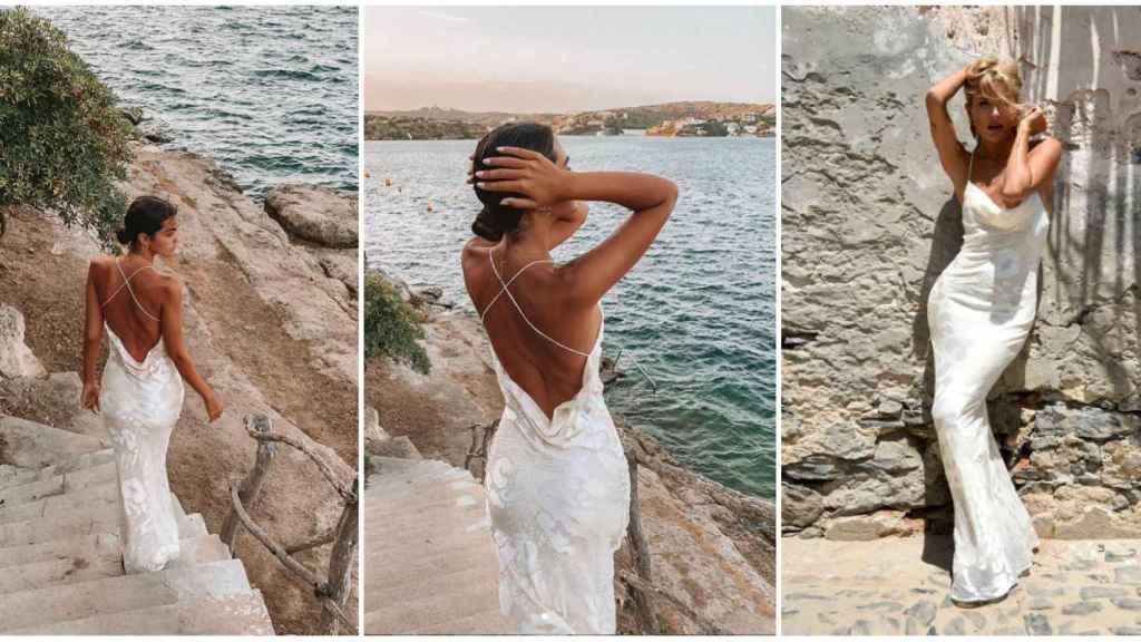 Marta Lozano presume de la espalda del vestido. En la última imagen, la modelo con el diseño.