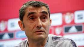 Ernesto Valverde, en rueda de prensa con el FC Barcelona