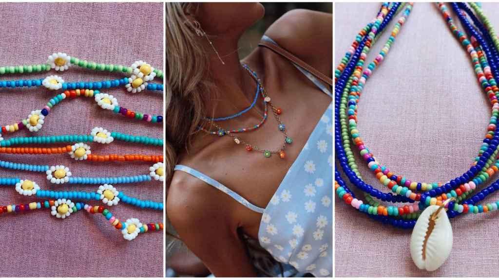 Algunos de los diseños de abalorios de Salitre Jewelry, y en el centro, la 'influencer' Paula Argüelles luciéndolos.