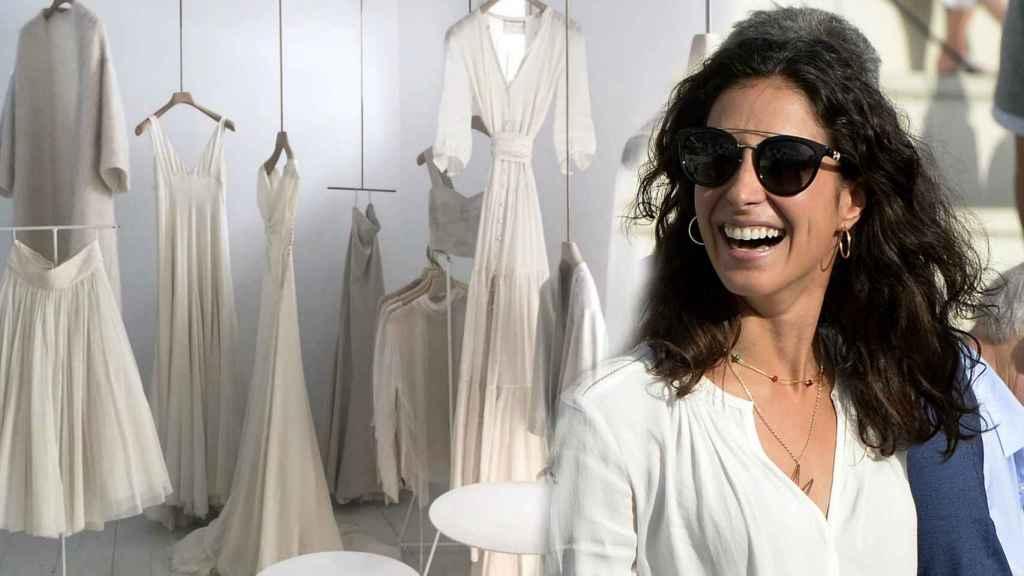 Xisca Perelló en un montaje junto algunos de los vestidos de la diseñadora que ha escogido para su boda con Rafa Nadal.