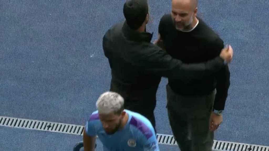 Fuerte encontronazo entre Guardiola y Agüero