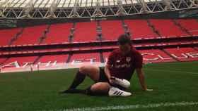 Eunate Arraiza, futbolista del Athletic en el Nuevo San Mamés. Foto: Instagram (@eunate14)