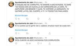 Captura de pantalla de diversos tuits desde cuenta del Ayuntamiento de Jaén.