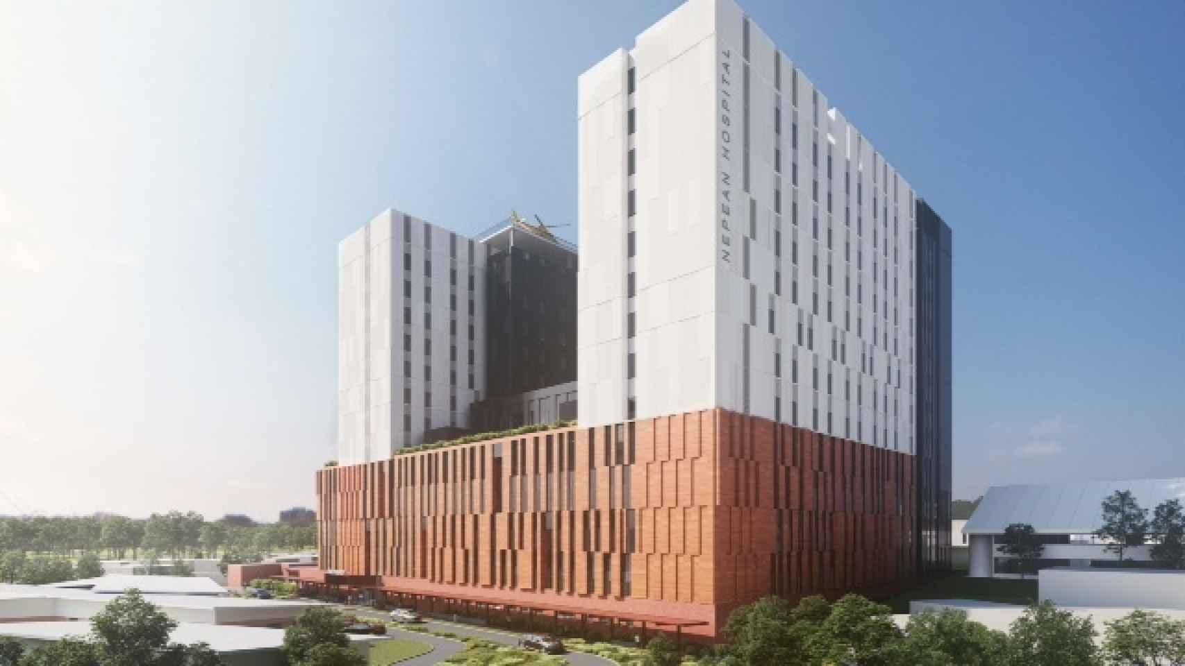 Imagen del proyecto de remodelación del hospital Nepean, que desarrollará CPB Contractors (ACS).